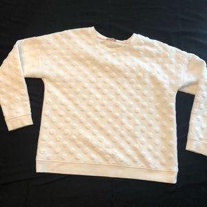 Boden White Polka Dot Textured Sweatshirt
